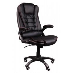 Kancelářské židle s masáží BRUNO černá (červená nit)